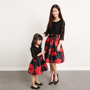 Anne Kızı Elbiseler Eşleşen Mama Çocuklar Çocuk Ebedi Giyim Akşam Anne ve Kızı Giyim Aile Eşleştirme Kıyafetler LJ201112