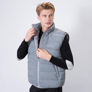 otoño invierno Chaleco reflectante chaleco sin mangas de los hombres chaqueta de hombre refleja la noche ligera de algodón acolchado chaleco fz0897