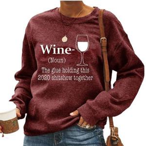 New Women Designer Wine Coração Carta Impresso Hoodies Sweatshirts Loose O Pescoço de Manga Longa Mulheres Rua Moda Pullover Top Camisas 5XL