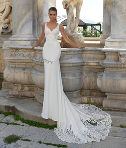 2021 Summer Beach Mermaid Wedding Dresses Sexy V Neck Lace Satin Boho Country Wedding Dress With Sweep Train Backless Cheap Bohemian Bridal