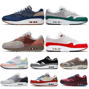 Stock x Nike Air Max 1 Just do it off white Sketch To Shelf Schematic Blanc Noir Script chaussures de course pour hommes femmes OG Anniversary Animal Pack Trainers Sneakers