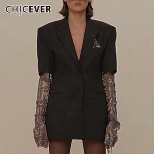 CHICEVER Negro chaqueta para las mujeres con muesca de cuello de manga larga del remiendo del diseñador más tamaño suelta abrigos femeninos otoño de 2020 El traje nuevo