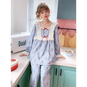 Damen Spitze Baumwolle Pyjamas Süße Nachtwäsche Set Top Frauen Cherry Print Pyjama Set Lange Hemd Hose Kpacotakowka Große Homewear