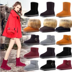 Snow boots new plus velvet thick winter women shoes leather warm snow shoes women winter snow boots Half wool boots Knee boot