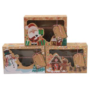 OurWarm 12pcs Kraft Paper Christmas Cookie Gift Boxes With Clear Window 22*15*7cm New Year Favors Boxes For Cookies Treats