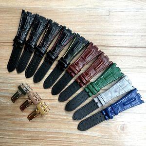 Preto Azul Cinzento Verde Brown com pontos do couro genuíno faixa de relógio pulseira com fivela de implantação de aço Para AP pulseira 28 milímetros