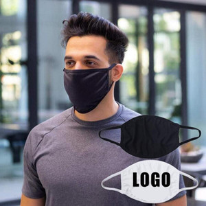 Black White Customizable Face Mask Washable Cotton Breathable Mouth Cover Women Men Adult Outdoor Casual Mask DDA766