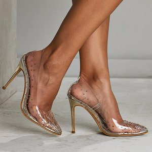 Golden Rhinestone PVC transparent Women Pumps Shoes Spring Autumn High Heels PVC Sexy Party Wedding shoes 2020