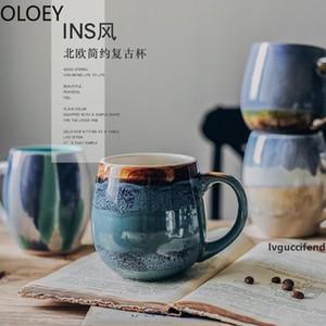 Creative Vintage Coffee Mugs Handmade Porcelain Milk Mugs with Lids Big Ceramic Travel Tea Cup Reusable Coffee Mug Luxury Blue T200506