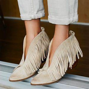Botas flecos botas mujer otoño invierno cuero hembra tobillo tacones altos bota feminina puntiaguda punta damas zapatos zapatos de