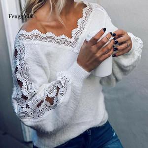 Señoras atractivas del suéter de las mujeres con cuello en V suéter suéter de manga larga de encaje blanco sólido puente caliente Otoño Invierno últimos suéteres