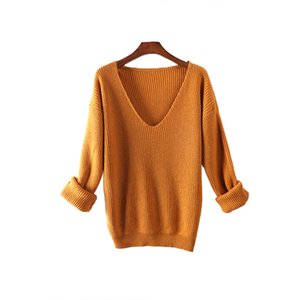Oversize Sweater Women V-Neck Cashmere Wool Autumn Winter Long Sweater Loose Soft Knit Jumper Female Pullover Sexy Sweater Dress 201006
