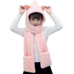 Orejas de gato de dibujos animados de la bufanda de los niños coreanos de invierno que se engrose en 1 en 1 accesorios de cabello corto de conejo para niños y niñas W1222