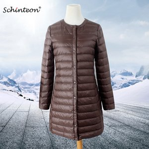 Schinteon Women Down Jacket Ultra Light White Duck Down Long Coat Thin Inner Bottoming Garment Slim Autumn New Arrival 201104