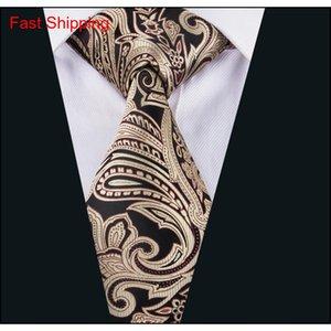 Cravatta più recenti per gemelli di seta legami fazzoletto regalo floreale uomo marrone set formale casual qylkkw queen66 PLDHB