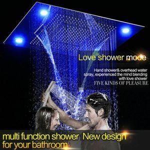 "NEW!! 10"" Rainfall Shower Heads Sets Bathroom Thermostatic Valve Faucet Bath Mixer"