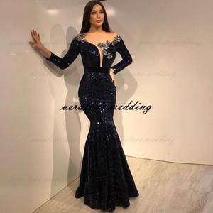 Черные блестки кружева русалка вечернее платье 2021 с длинными рукавами Формальное вечернее платье для вечеринки Робин De Soiree Prom Party Pretions