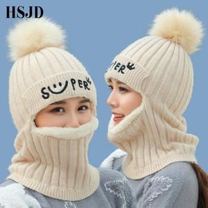 Cabello nuevo pasamontañas hicieron punto los sombreros invierno para las mujeres gruesas Máscara Skullies Gorros sonrisa Caps para la muchacha Proteger cuello Snow Cap