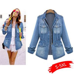 Alta Qualidade Denim Jackets Mulheres Autumn Moda manga comprida Brasão Casual denim outwear Tops Plus Size 5XL Buraco Jacket