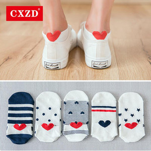 CXZD 5Pairs وصول جديد الجوارب المرأة القطن الوردي القط لطيف الكاحل جوارب قصيرة عارضة الأذن الحيوان القلب الأحمر جريل 35-40