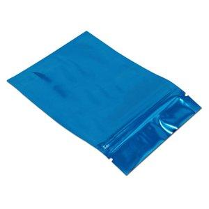 Vendite al dettaglio Blue Aluminum Foil Zip Block Bag Sacchetto di stoccaggio dell'imballaggio Mylar Plastic Snack Bag Regalo Drogheria Ricaricabile Zipper Pack Pouch H BBYMGC