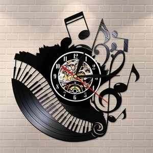 Piano Sala de música Notas de música Récord de vinilo Reloj Músico Pianista Profesor Custom Sign Wall Art Vinyl Clock I Love Music Clock Watch T200601