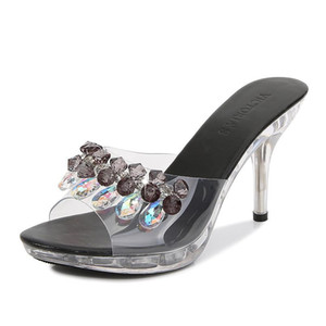 Mclubgirl Women's Shoes 34-43 Style Slippers High Heels Women Summer Simple Crystal Slanted Transparent LFD-3107-4