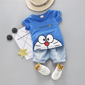 Cartoon Toddler Boy Clothes Summer Set 2 Color T Shirt Short Jeans Children Clothing Short Sleeve Shirt Boys Suit Baby Tracksuit 200928