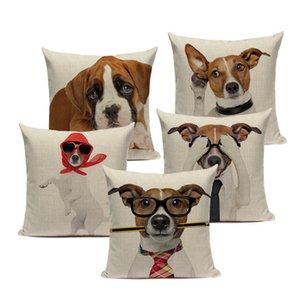 Casas de almohadas decorativas de dibujos animados personalizados Cubiertas lindas de cojín animal amarillo Beagle Beagle Puppy Cojines para perros para la cama de la sala de estar