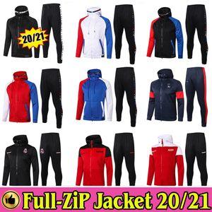 Paris Saint Germain MBAPPE Full Zip Hoodie Jacket PSG Soccer Hooded Sweat Real Madrid Marseille Survêtement 2020 2021 Training Suit 20 21 Survetement Kit
