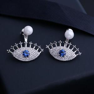Nuovo stile Coreano Brand Luxury Micro-Inlaid Zircon Pearl Eye Orecchini Gioielli Temperament TEMPERMENT DONNA GIRCON HIGHCON S925 orecchini ago d'argento