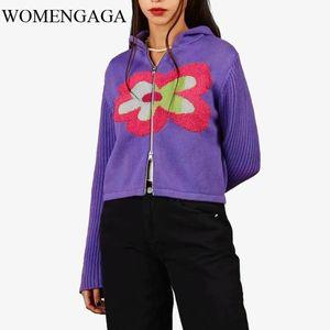 Womengaga осень зима женщин вязаный капюшон кардиган вязаный молния через толстовки в фиолетовом свитере LJ201114