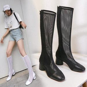 2020 Fashion Women Knee High Boots Square High heels Zipper Sexy Leather Mesh Boots Summer Cool Breathable Women's Shoes