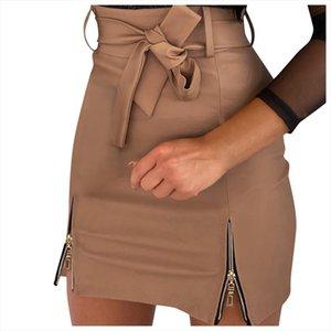 2020 Summer Women Slim Sexy Short Skirt High Waist Solid Zipper Mini Skirt Hip Solid Mini Skirts Hot G40