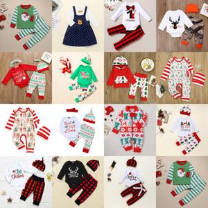 15 Styles Christmas Baby Kleidung Sets Infants Weihnachten Outfits Weihnachtsmann Elk Druck Kleidung Plaidhosen Hat Set Kleinkind-Jungen-Mädchen-Klagen M2266