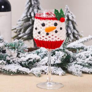 Noel şarap cam Ev Noel Kupa Kapak Dekor Mutlu Yıllar HHB2364 için Noel Baba Kardan adam Noel Dekorasyon set