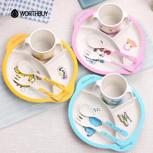 Worthbuy Kids Cartoon Children Dinnerware Tableware Bamboo Dinner Cutlery Accessories Cute Eco Friendly With Set Kitchen bbyRPU sweet07