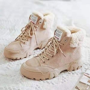 women snow boots beige plush warm fur causal boots shoes sneakers ankle booties platform thick sole lace up winter shoes
