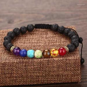Classic Chakra Bracelets For Women Men Natural Lava Stone Braslet Braided Thread Braclet 5 Styles Charm Brazalete Yoga Jewelry1