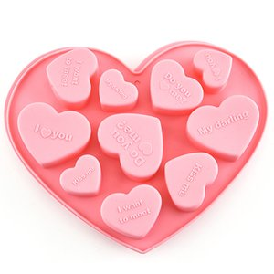 Silicone Molds Cake Decorating Baking Tools English Heart Chocolate Mold Candy Mousse Dessert Mousse Pastry Art Pan Moulds Ice Cube Tray