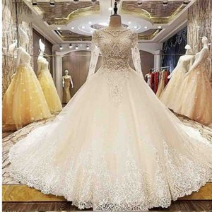 Luxury Ball Gown Wedding Dresses With Jewel Sheer Neck Lace Appliques Sequins Beads robe de mariée Sheer Back Long Sleeves Bridal Dress