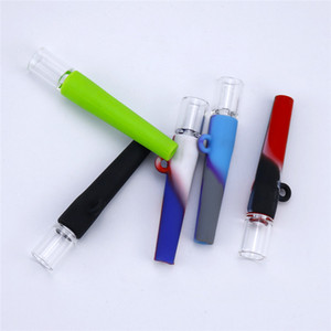 Tobacco Mini Pipe One Hitter portable glass water bongs dab rig silicone smoking pipes glass bong smoking accessories 420 Handle Pipes