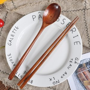 Wood Spoon Chopsticks Natural Old Paint Cutlery Set Environmental Protection Students Portable Dinnerware Set Travel Kitchen BH4547 WXM