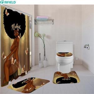 Dafield Badezimmer Vorhang Set Toilettenkissenbezug Bad Teppich Matte Stoff Duschvorhang Set für Badezimmer Afroamerikanerfrau 201103