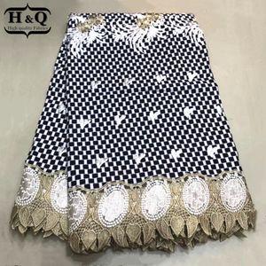 cera HQ alta qualidade Africano Lace Fabric 6 jardas / pcs Prints tecido com bordado nigeriano Guipure Wax Lace para o vestido Mulheres