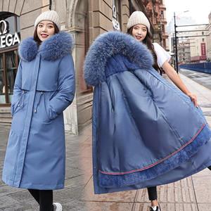 2020 Winter Maternity Lamb Hair Liner Detachable Korean Down Padded Jacket Women's Mid-length Large Fur Collar Pregnant Coats