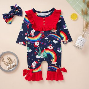 Christmas Pajamas Baby Boutique Girl Infant Romper Suit Santa Claus Jumpsuit Overall Coverall clothing with headband