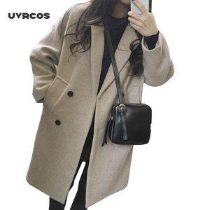 UVRCOS Новый Тонкий полушерстяные пальто Женщины Сплошной с длинным рукавом отложным воротником куртки Осень Зима Элегантный Двойной Брестед куртки