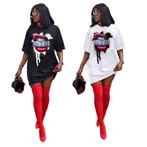 Dollar In Mouth Ladies Dress Fashion Trend Short Sleeve Round Neck Short Skirt Designer New Female Casual Loose Sexy Lips Dresses