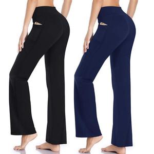 2020 Fashion Women Sports Pants Yoga Running Jogging Bootleg Pants Inner Pocket Light Weight High Waist Leggings Fitness